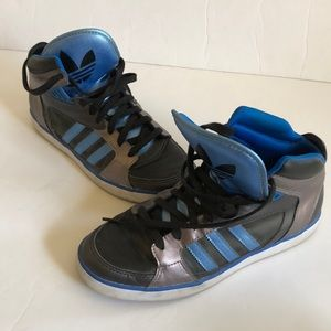 Adidas black blue leather high top sneakers